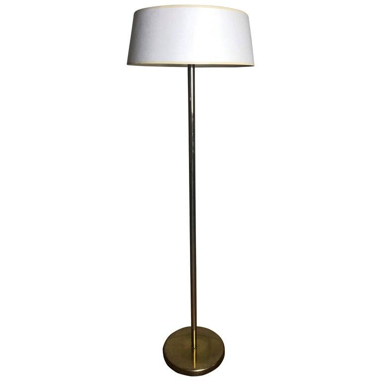 Early 1960s Modernist Brass Floor Lamp by Walter Von Nessen for Nessen Studio