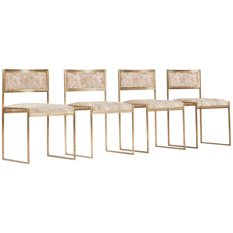 Brass Dining Chairs by Willy Rizzo, Italy, 1970s