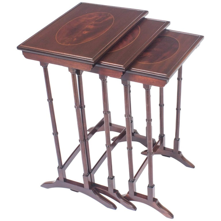 Antique Victorian Mahogany and Inlaid Nest of Three Tables, 19th Century
