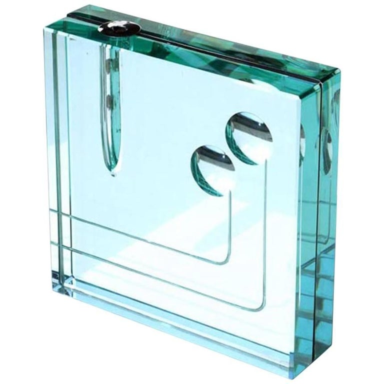 Fontana Arte Italian Design, 1960s Mirrored Crystal Vase