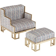 Hollywood Regency Willy Rizzo Lounge Chair and Ottoman with Brass Frame