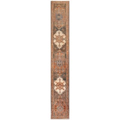 Long and Narrow Antique Persian Tabriz Runner Rug