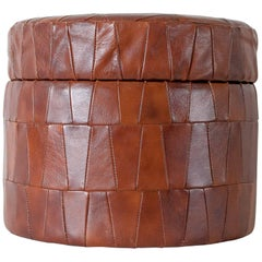 Leather Patchwork Pouf