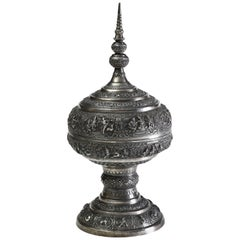 Solid Silver Hand-Worked Burmese Ceremonial Offering Vessel Jataka Scenes Relief