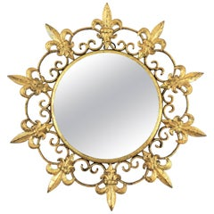 Unusual Spanish 1940s Gilt Iron Fleur-de-Lis Sunburst Mirror Miniature