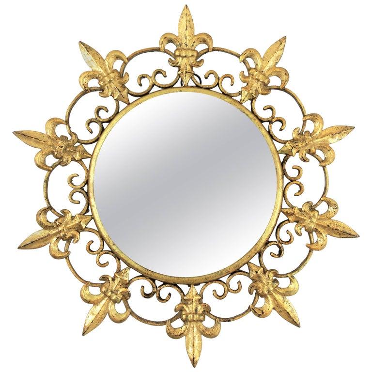 Unusual Spanish 1940s Gilt Iron Fleur-de-Lis Sunburst Mirror Miniature