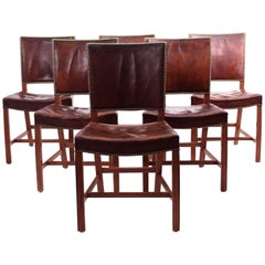 Kaare Klint - Six Early Red Chairs in Cuban Mahogany and Niger Leather