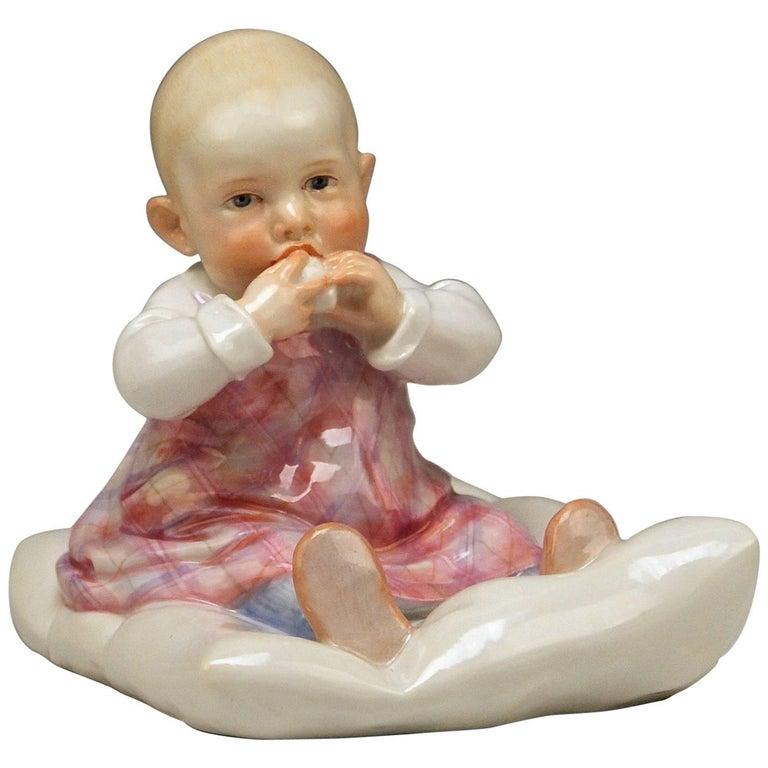 Meissen Hentschel Child Sitting on Cushion Figurine Model U 150 Made circa 1905