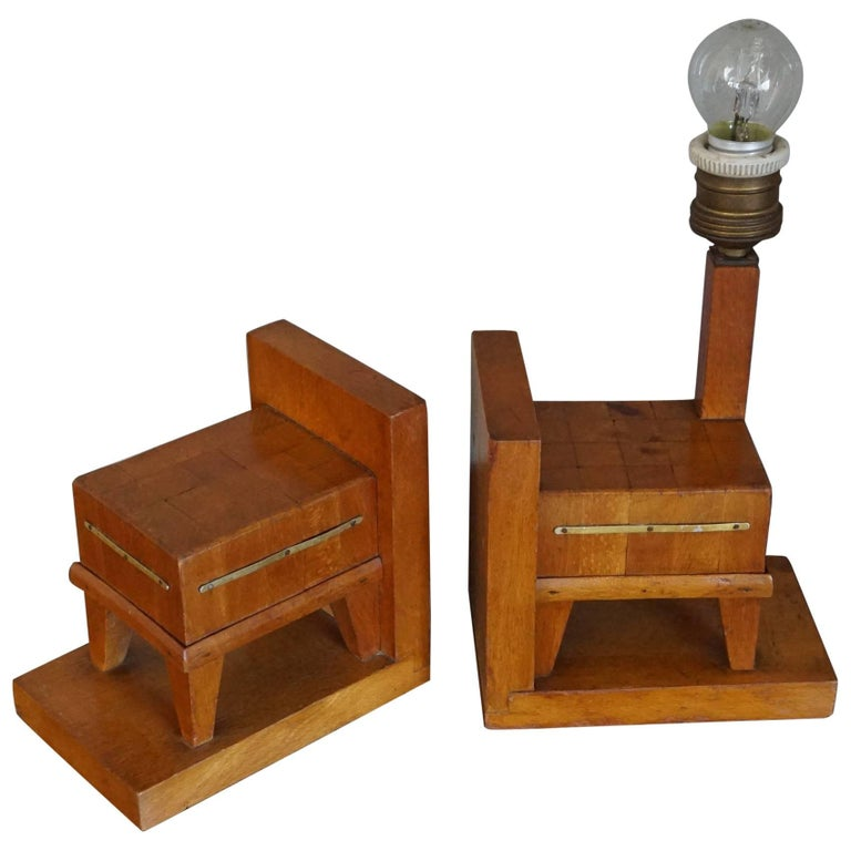Pair of Wooden Art Deco Butcher Block Bookends with Integrated Table Light