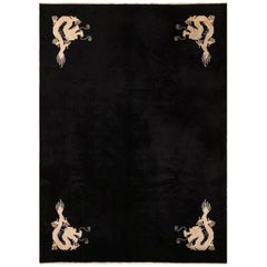 Benevolent Five Clawed Dragon Design Black Antique Chinese Rug
