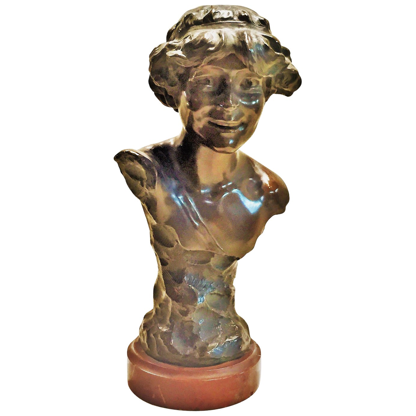 A. Charroi, Laughing Girl, French Art Nouveau Bronze and Marble Bust, circa 1900