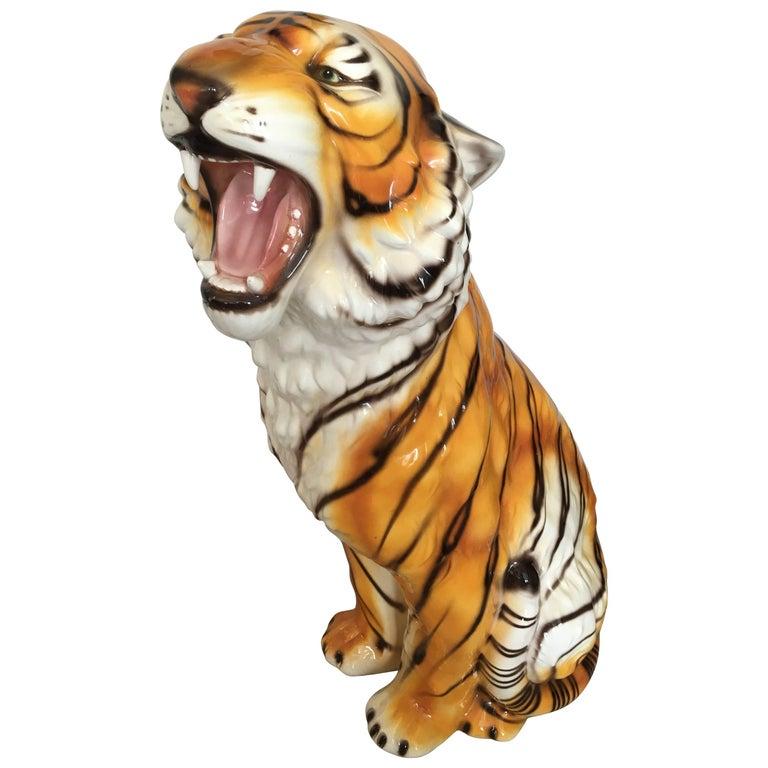 Large Midcentury Ceramic Tiger