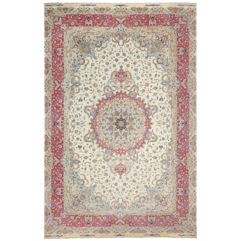 Oversize Silk and Wool Vintage Persian Tabriz Rug
