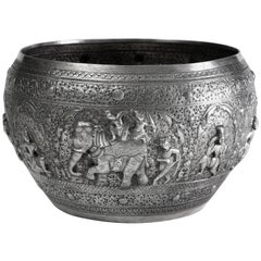 Hand-Worked Solid Silver Burmese Ceremonial Bowl, High Relief Jataka Scenes