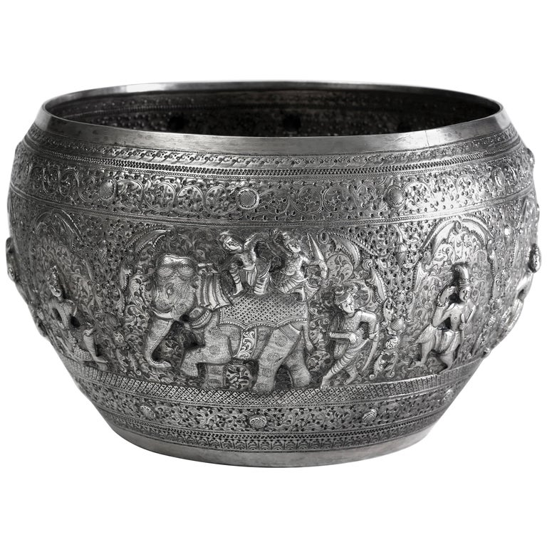 Hand-Worked Solid Silver Burmese Ceremonial Bowl, High Relief Jataka Scenes For Sale
