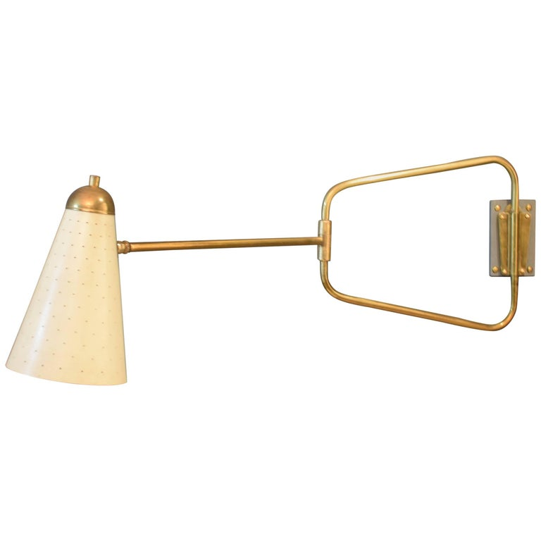 Mid-Century French Brass Swing Wall Light/Scone by Jacques Biny, 1950s For Sale
