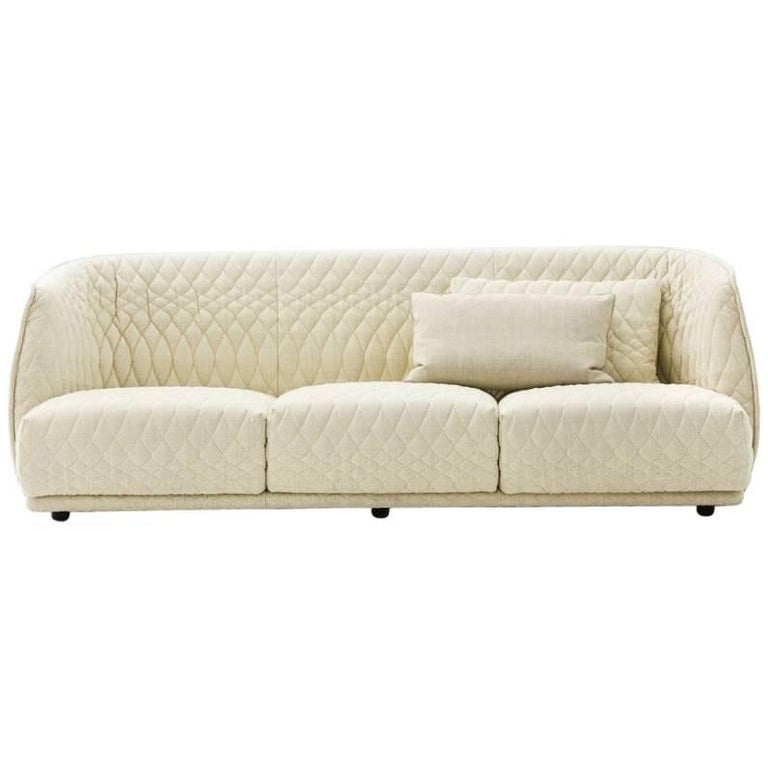 Moroso Redondo Three-Seat Sofa in Quilted Upholstery by Patricia Urquiola