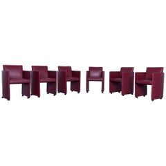 JORI Eternity Designer Chair Set Leather Red Modern