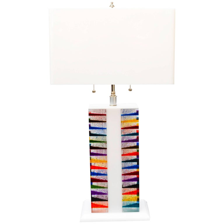 Skyscraper Style Lucite Table Lamp and Shade For Sale