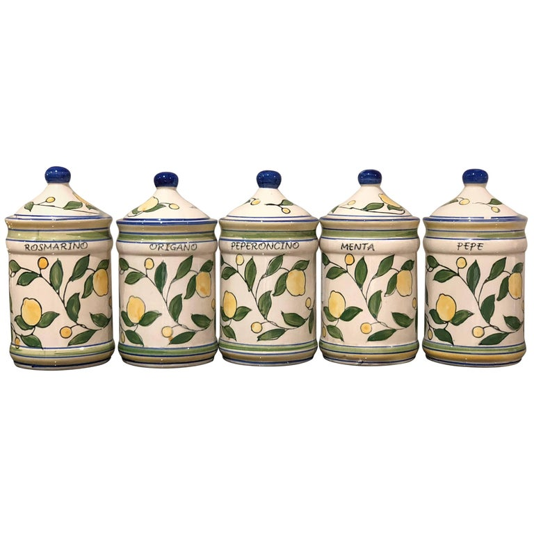 Lemons Hand-Painted Italian Ceramic Set of Five Spices Mix Tuscany