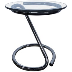Mid-Century Modern Sculptural Chrome and Glass Tubular Side Table