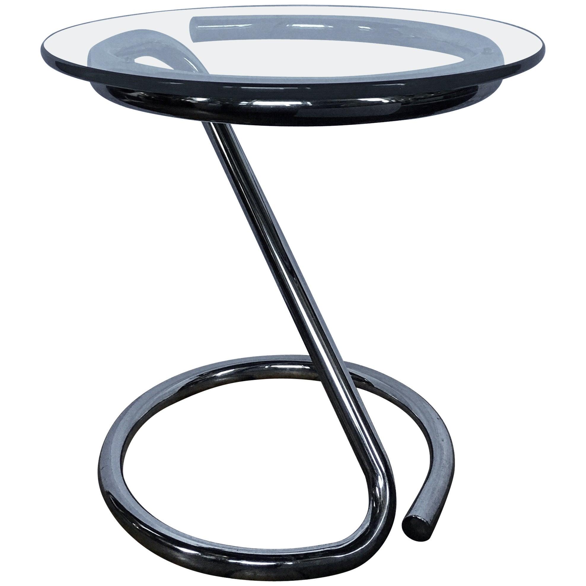 Mid-Century Modern Sculptural Chrome and Glass Tubular Side Table
