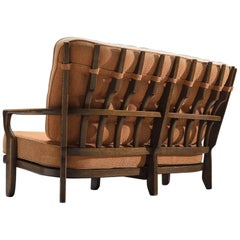 Guillerme & Chambron Carved Solid Oak Settee