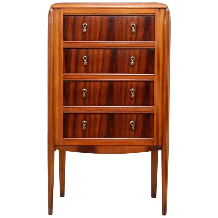 Art Deco Walnut Chest with Marble Top