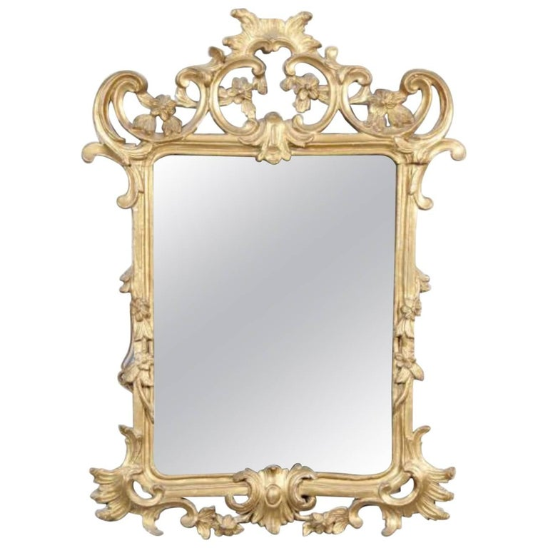 19th Century French Mirror with Carved and Giltwood Frame, Napoleon III