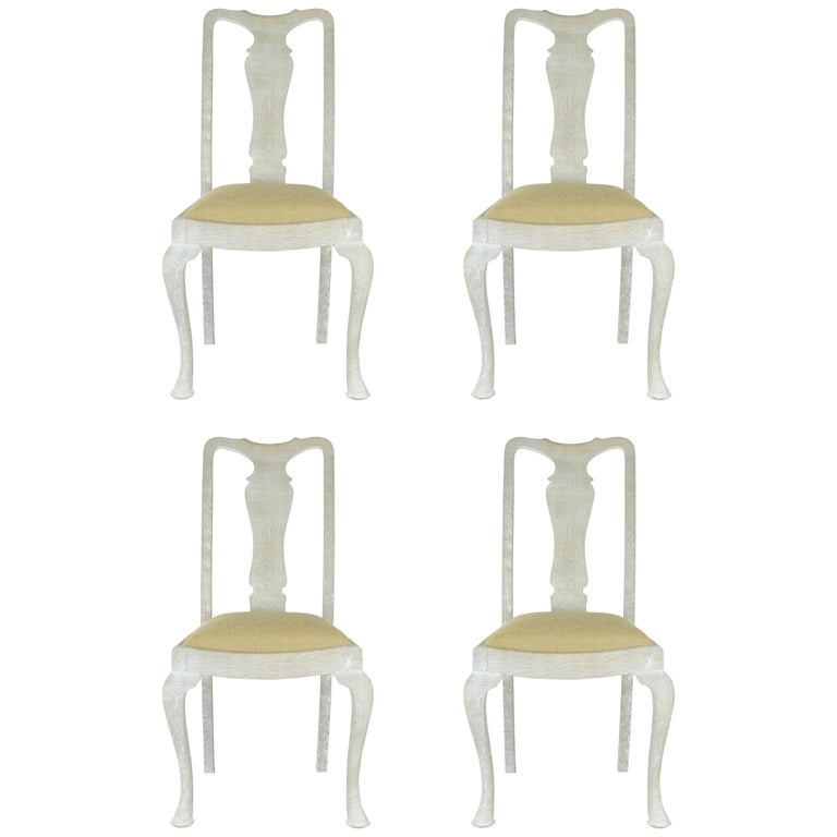 Set of Four (4) Antique Gustavian Style Limed Oak Urn Back Dining Chairs