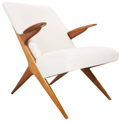 Scandinavian Modern Lounge Chair in Elm New Upholstered, 1950s Vintage