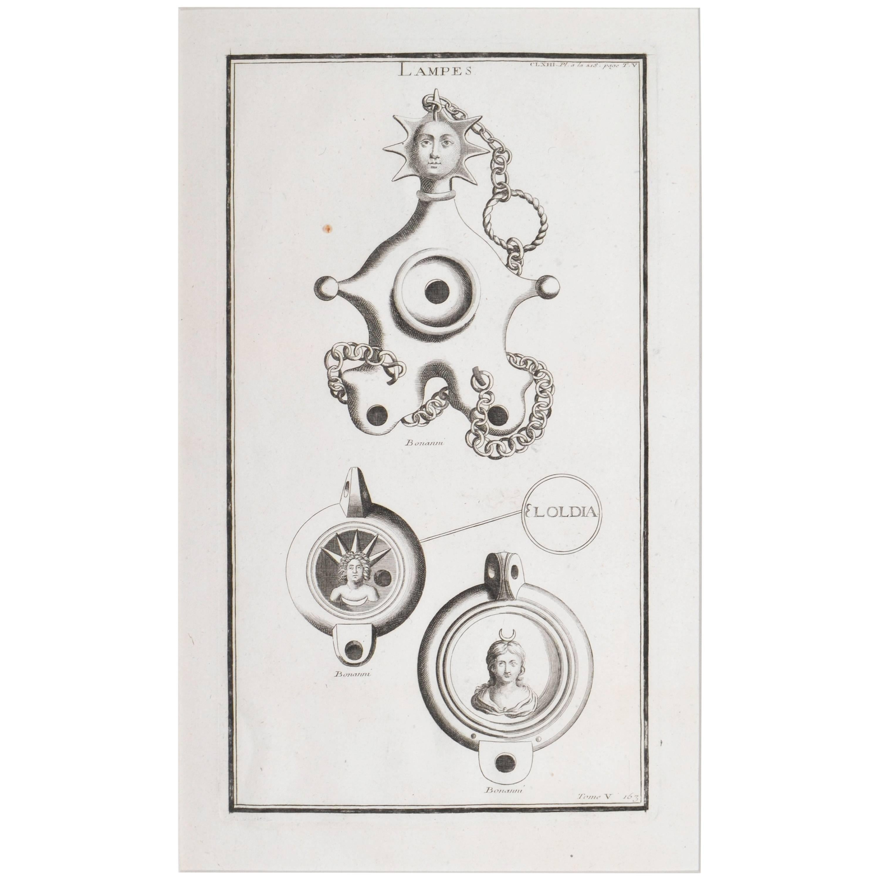 Copper Engraving Featuring Oil Lamps from the Roman Empire
