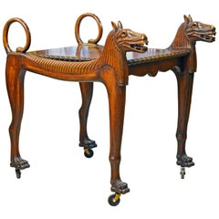 Rare Egyptian Revival Tutankhamun Inspired Carved Walnut Lion Table or Cart