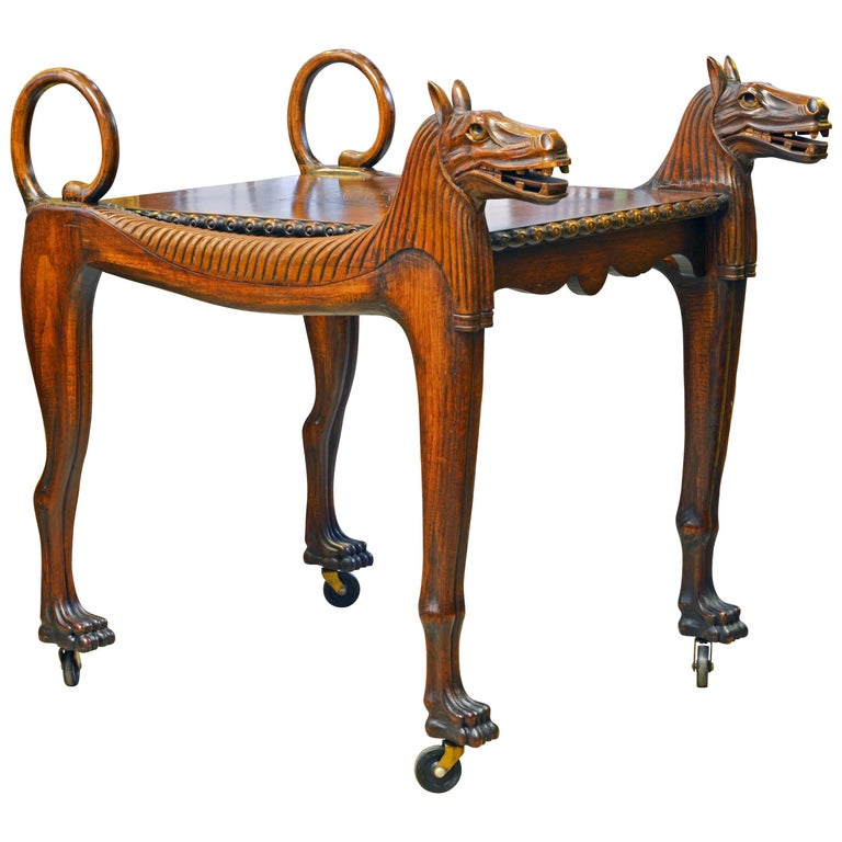 Rare Egyptian Revival Tutankhamun Inspired Carved Walnut Lion Table or Cart For Sale