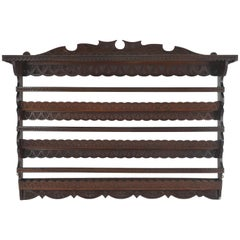 Antique Plate Rack, Solid Walnut, Victorian, Chip Carved, Hanging Shelf REDUCED!