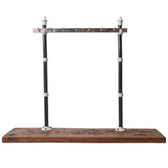 Early 20th Century Cast Iron Butchers Meat Display Rack on a Butchers Block