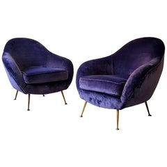 Midcentury Italian Armchairs in Velvet