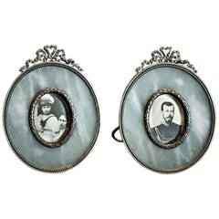 K. Fabergé, a Pair of Silver and Jasper Photograph Frames, circa 1908