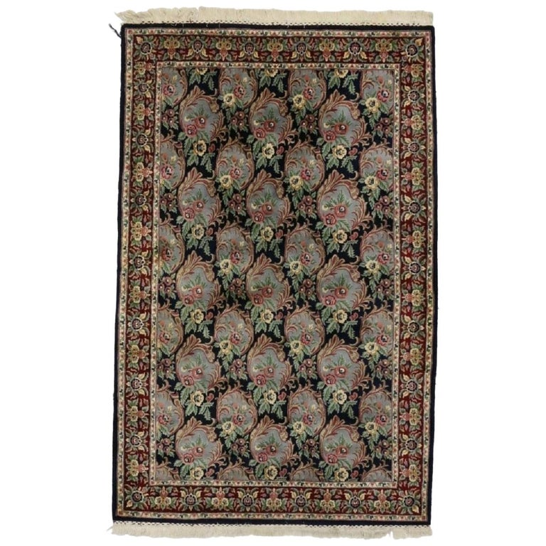 Vintage American Colonial Style Indian Area Rug With Framed Flowers For