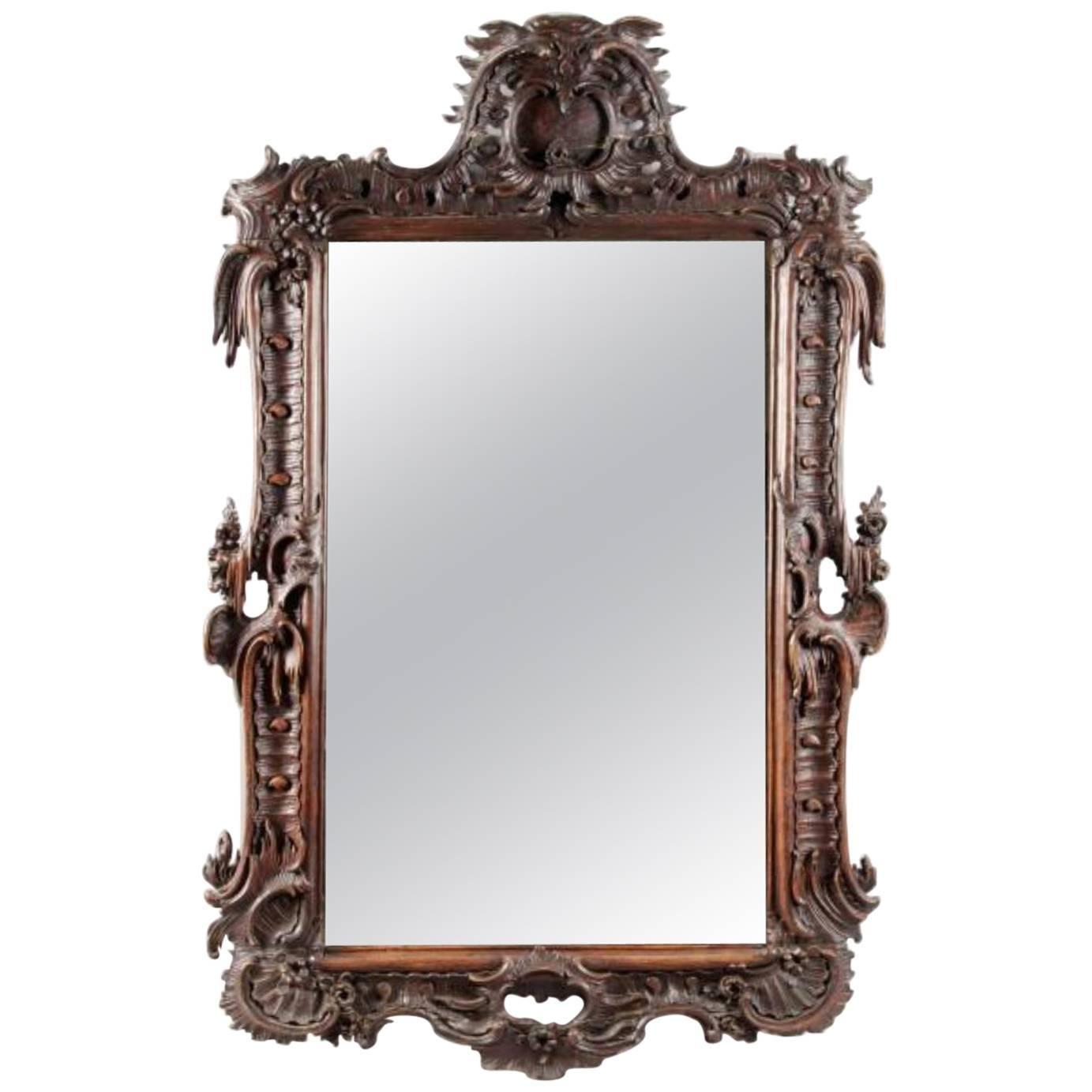 19th Century Walnut Hand-Carved Mirror by Nicolas Pineau