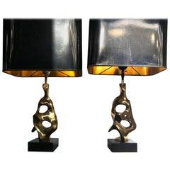 Pair of Bronze Abstract, Sculptural Lamps by Michel Jaubert