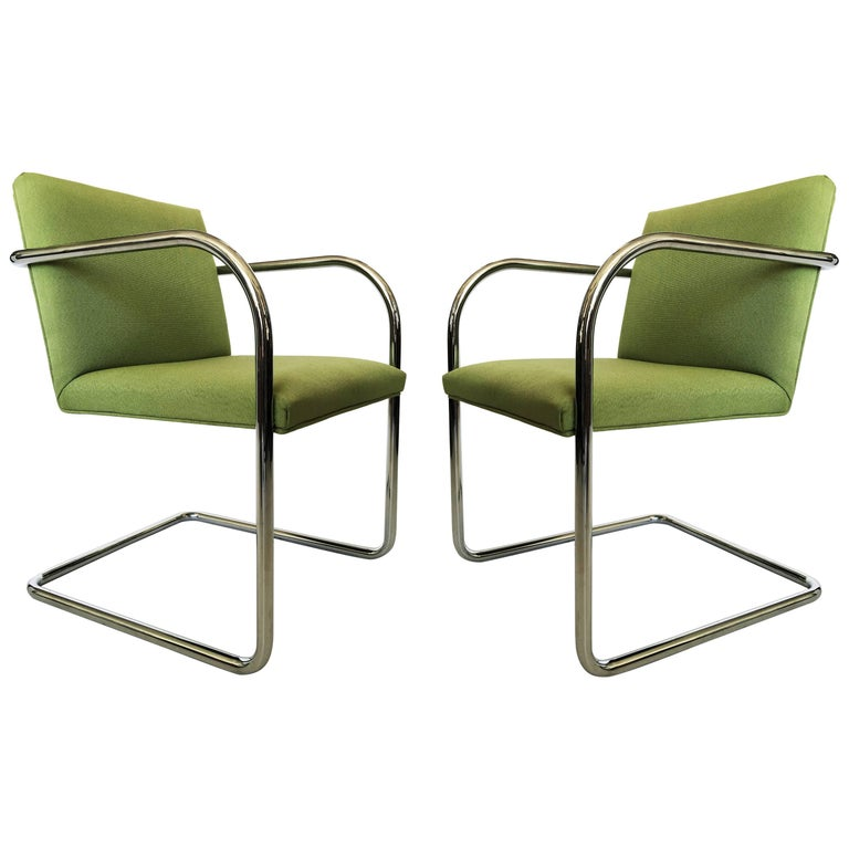 Pair of Brno Chairs in Green
