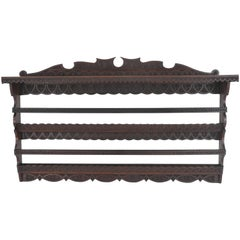 Antique Plate Rack, Solid Walnut, Victorian, Chip Carved, Hanging Shelf, B988A