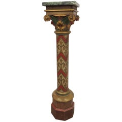 19th Century Painted Pedestal with Green Marble Top