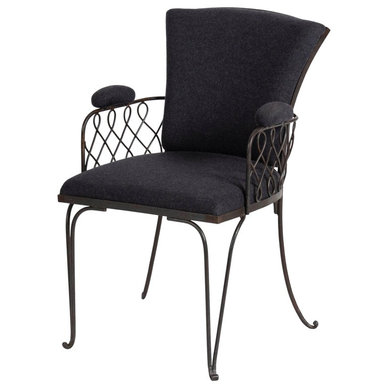 In the Manner of Jean Pascaud, Wrought Iron Armchair, France, C. 1935 For Sale