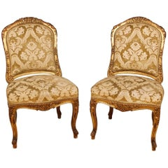 Pair of French Lounge Chairs in Giltwood and Damask Velvet from 20th Century
