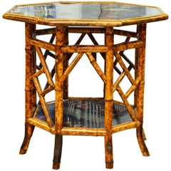 Large 19th Century English Chippendale Chinoiserie Style Bamboo Table