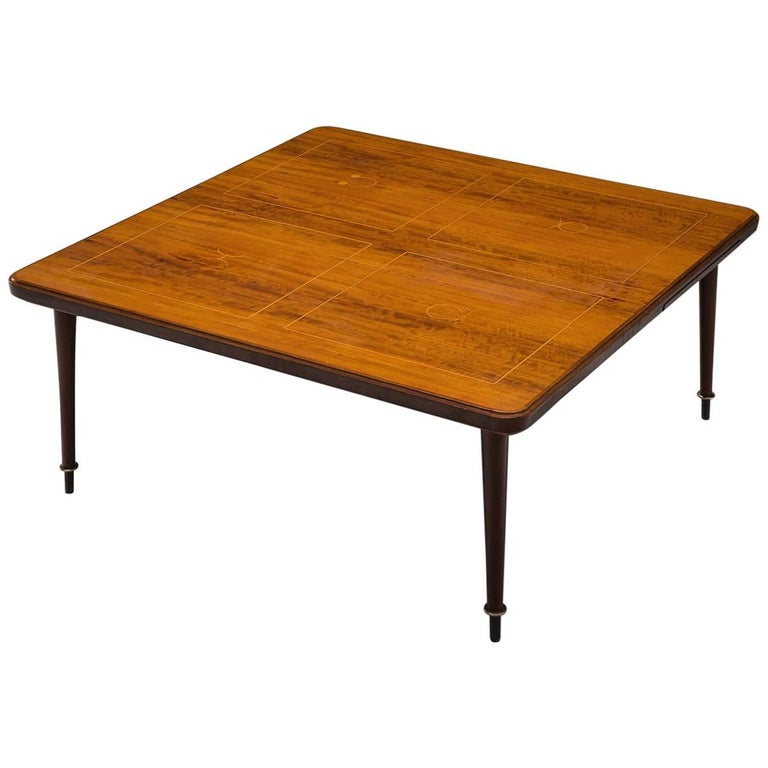 Coffee Table in Brass and Rosewood