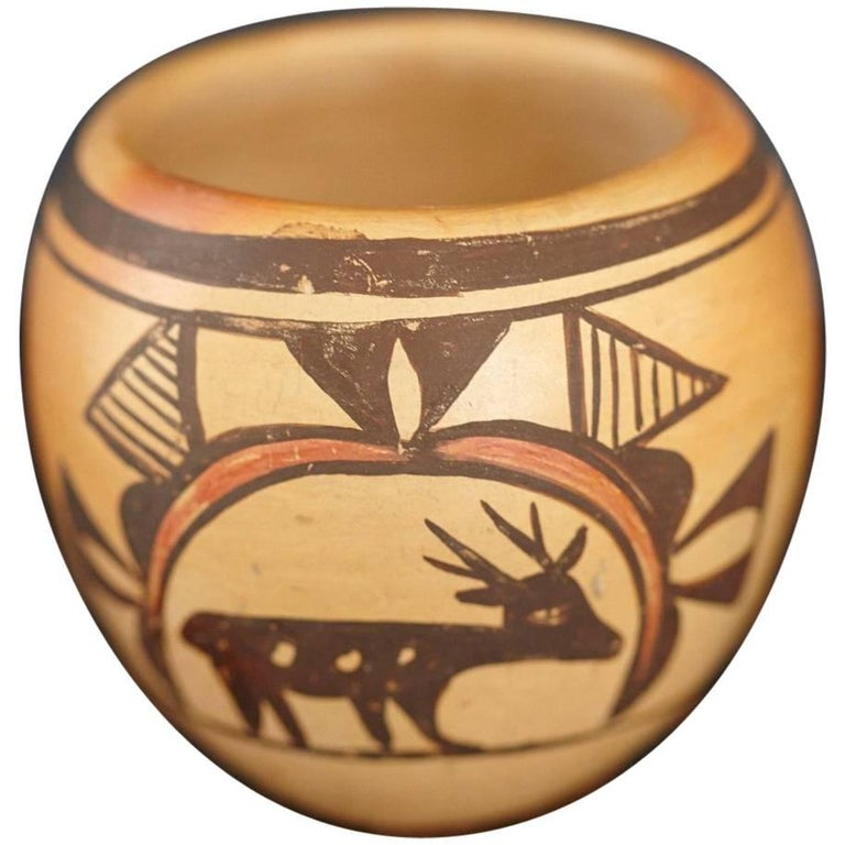Native American Hopi Polychromed Earthenware Pot by Rosetta Huma, circa 1960s