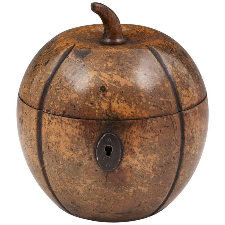 Antique Melon Fruitwood Tea Caddy, 19th Century